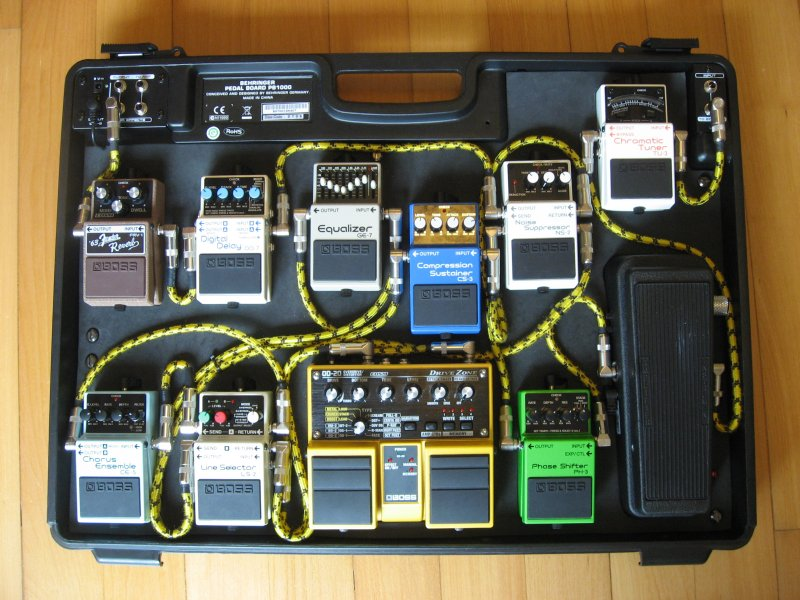 the evolution of a pedal board was able to be squeezed into the box i swapped the positions of the tuner and the wah in the signal chain as pictured in the original wiring diagram